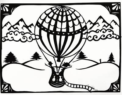 Scherenschnitte Drawing - June In A Balloon by Summer Porter
