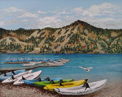 Painting - June Lake Marina  by Katherine Young-Beck