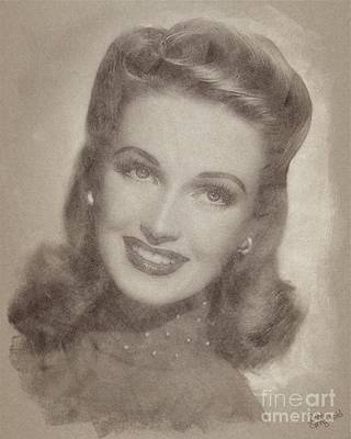Musicians Drawings Rights Managed Images - June lang, Vintage Actress Royalty-Free Image by Esoterica Art Agency