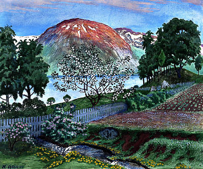 Snowy Night Painting - June Night In The Garden by Nikolai Astrup