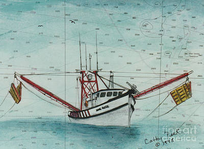 Shrimper Painting - June Rose Shrimp Boat Nautical Chart Map by Cathy Peek