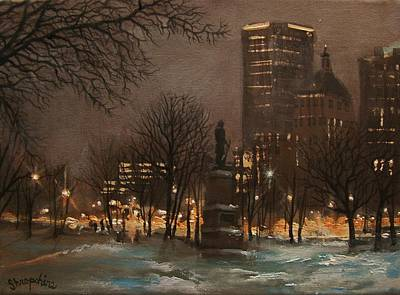Snow Scene Painting - Juneau Park Milwaukee by Tom Shropshire