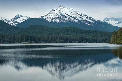 Photograph - Juneau Snow Capped Peaks Reflection by Loriannah Hespe