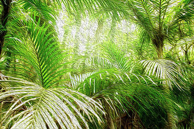 Greenery Digital Art - Jungle Abstract 1 by Les Cunliffe