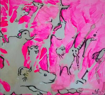 Pink Painting - Jungle Animals- Original by April Somerdorf