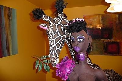 Sturges Sculpture - Jungle Beauty Queen And Giraffe by Cassandra George Sturges