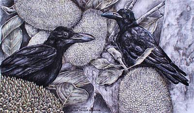 Jungle Crows On Jackfruit Art Print by Trish Taylor Ponappa
