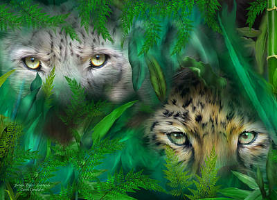 Mixed Media - Jungle Eyes - Leopards by Carol Cavalaris