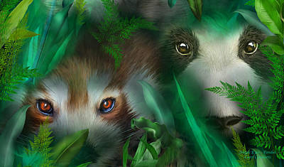 Mixed Media - Jungle Eyes - Pandas by Carol Cavalaris