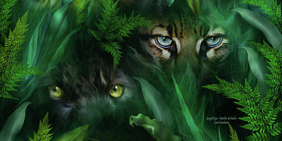 Panther Mixed Media - Jungle Eyes - Panther And Ocelot  by Carol Cavalaris