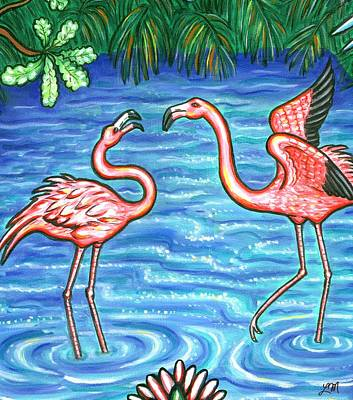Red Roses - Jungle Flamingo Birds by Linda Mears