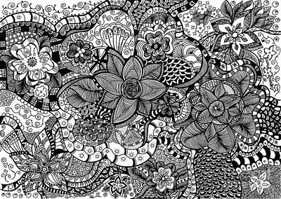 Hypnotic Drawing - Jungle Flowers by Sally Bosenburg