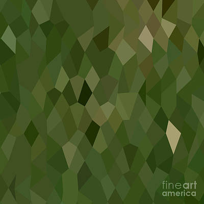 Jungle Green Abstract Low Polygon Background Art Print by Aloysius Patrimonio