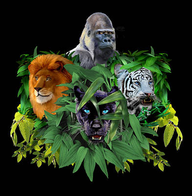 Digital Art - Jungle Guardians by Glenn Holbrook