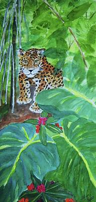 Art Print featuring the painting Jungle Jaguar by Ellen Levinson