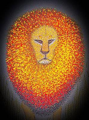 Painting - Jungle King  by Assumpta Tafari Tafrow Neo-Impressionist Works on Paper