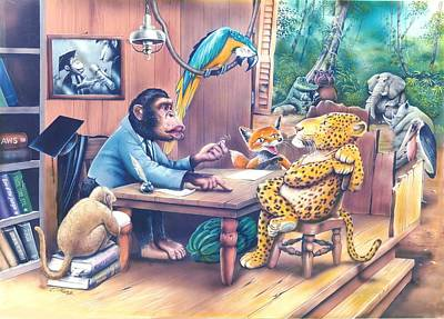 Chimpanzee Mixed Media - Jungle Lawyer by Tuvia Kurz