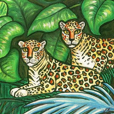 Twins Painting - Jungle Leopards by Linda Mears