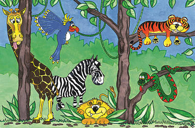 Jungle Party Print by Kirsty Breaks