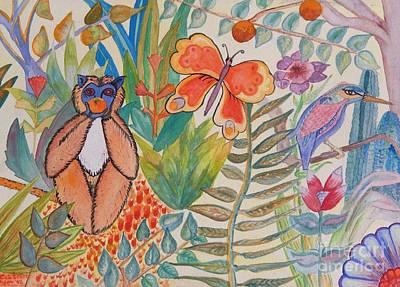 Movies Star Paintings - Jungle Scene With Monkey by Caroline Street