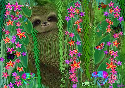 Sloth Painting - Jungle Sloth by Nick Gustafson