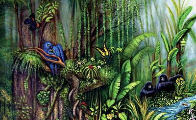 Art Print featuring the painting Jungle Talk by Lynn Buettner