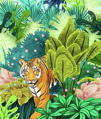 Digital Art - Jungle Tiger by Uma Gokhale