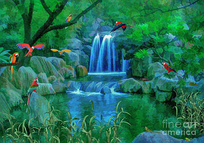 Digital Art - Jungle Water Falls And Parrots by Walter Colvin