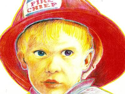 Drawing - Junior Fire Chief by Jim Harris