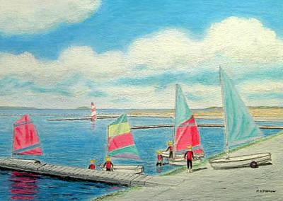 Painting - Junior Sailing School, West Kirby Marine Lake by Peter Farrow