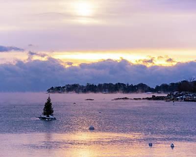 Photograph - Juniper Cove Christmas Tree Salem Ma Sea Smoke At Sunrise by Toby McGuire