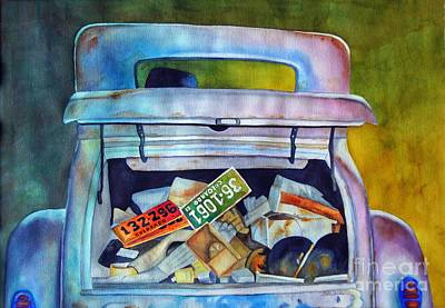 Old Junk Car Painting - Junk In The Trunk by Gail Zavala