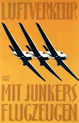 Royalty-Free and Rights-Managed Images - Junkers-Flugzeug and Luftverkehr Aircrafts - Vintage Advertising Poster - Minimalist by Studio Grafiikka