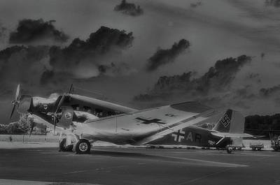 Junkers Ju52 Black And White Art Print by A R Williams