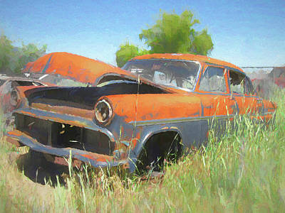 Digital Art - Junkyard 1954 Ford Sedan by David King