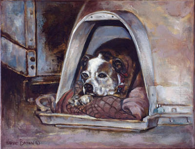 Pitbull Wall Art - Painting - Junkyard Dog by Harvie Brown