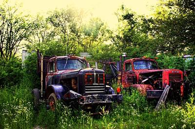 Antique Tow-truck Photograph - Junkyard Dogs by Off The Beaten Path Photography - Andrew Alexander