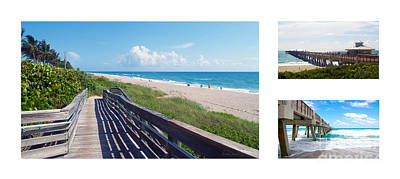 Photograph - Juno Beach Florida Seascape Collage 1 by Ricardos Creations