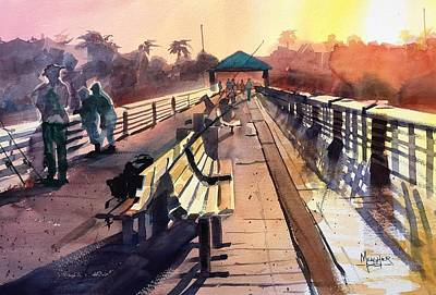 Juno Beach Pier At Sunset Art Print by Spencer Meagher