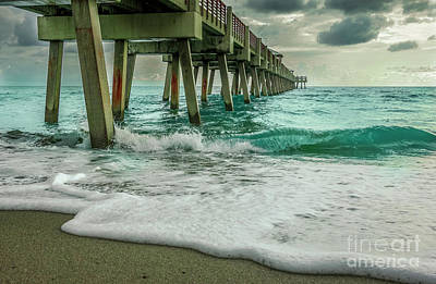 Wine Corks Royalty Free Images - Juno Beach Pier Royalty-Free Image by Edie Ann Mendenhall