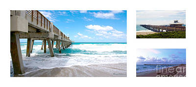 Photograph - Juno Beach Pier Florida Seascape Collage 1 by Ricardos Creations