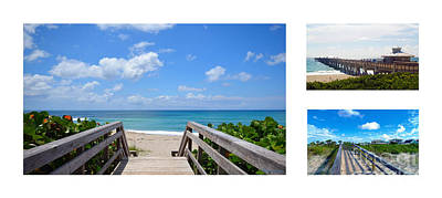Photograph - Juno Beach Pier Florida Seascape Collage 5 by Ricardos Creations