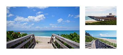 Photograph - Juno Beach Pier Florida Seascape Collage 6 by Ricardos Creations