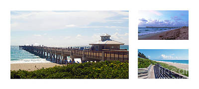 Photograph - Juno Beach Pier Florida Seascape Collage 8 by Ricardos Creations