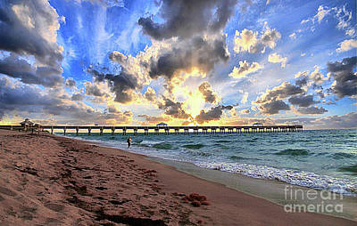 Photograph - Juno Beach Pier Florida Sunrise Seascape D7 3 by Ricardos Creations