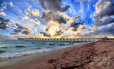 Juno Beach Pier Florida Sunrise Seascape D7 Art Print
