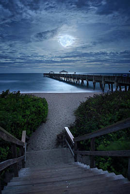 Photograph - Juno Pier Stairs To Beach Under Full Moon by Justin Kelefas