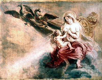 Hera Painting - Juno Suckling Hercules by Granger