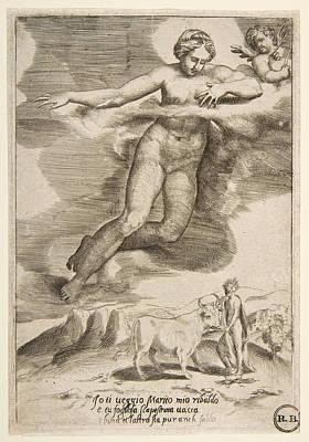 Drawing - Juno Watching Jupiter And Io by Giulio Bonasone