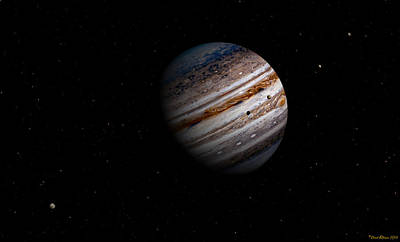 Digital Art - Jupiter And It 4 Major Moons by David Robinson
